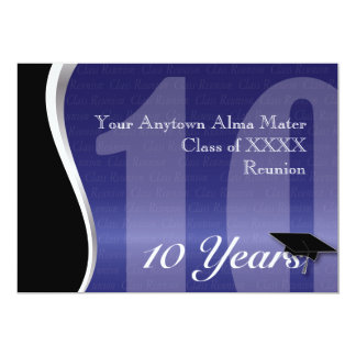 Customisable 10 Year Class Reunion 13 Cm X 18 Cm Invitation Card