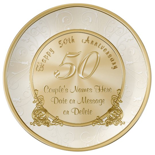 Personalised 50th Wedding Anniversary Gifts: Customisable 50th Wedding Anniversary Gifts Plate