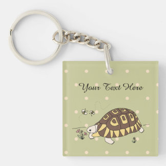 Customisable Angulate Tortoise Keychain (2 sided)