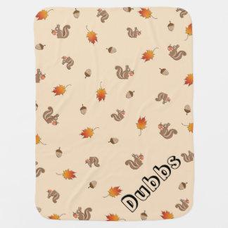 Customisable Autumn Squirrel Baby Blanket