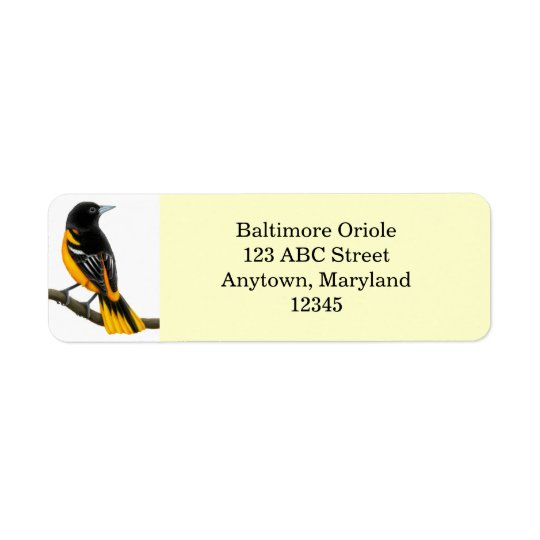 Customisable Baltimore Oriole Bird Avery Label