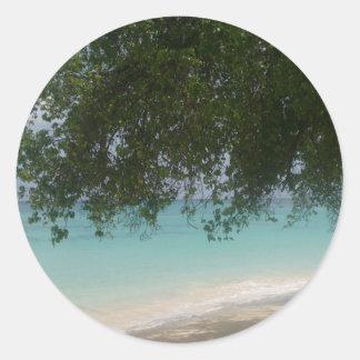 Customisable Barbados Beach Classic Round Sticker