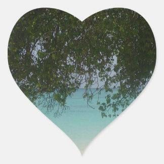 Customisable Barbados Beach Heart Sticker