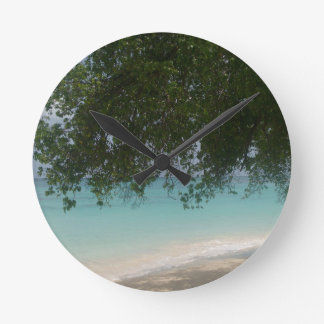 Customisable Barbados Beach Round Clock