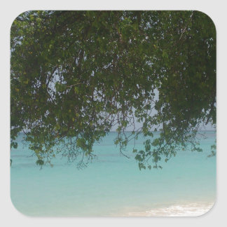 Customisable Barbados Beach Square Sticker