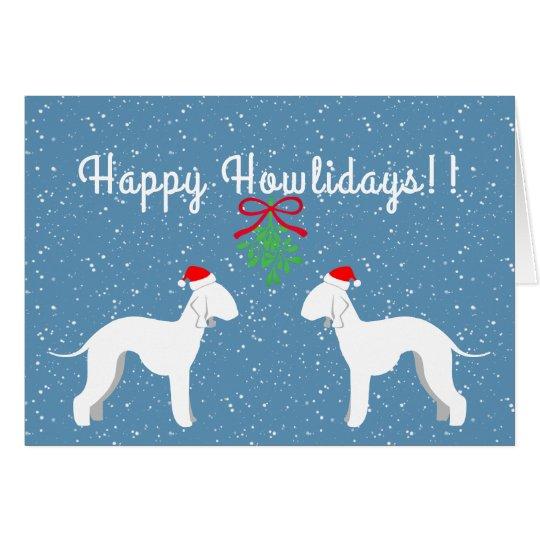 Customisable Bedlington Terrier Holiday Card