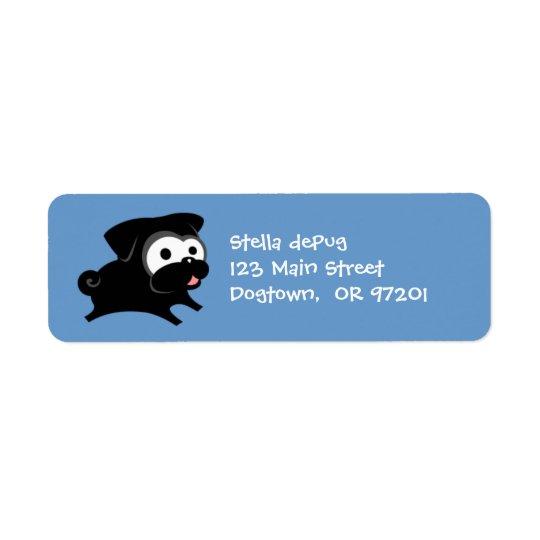 Customisable Black Pug 2 Return Address Labels