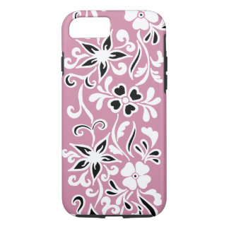 Customisable black & White floral pattern on pink iPhone 7 Case