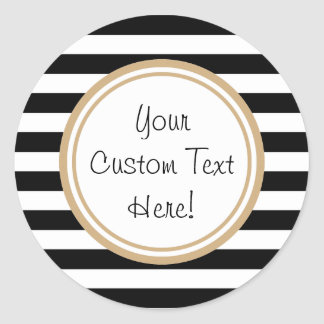 Customisable Black & White Striped Border Stickers