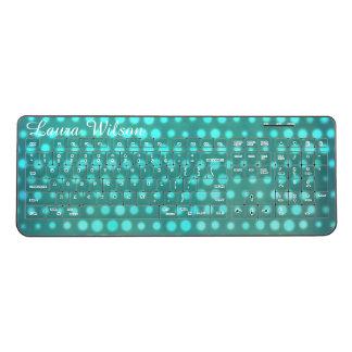 customisable blue aqua glow dots wireless keyboard