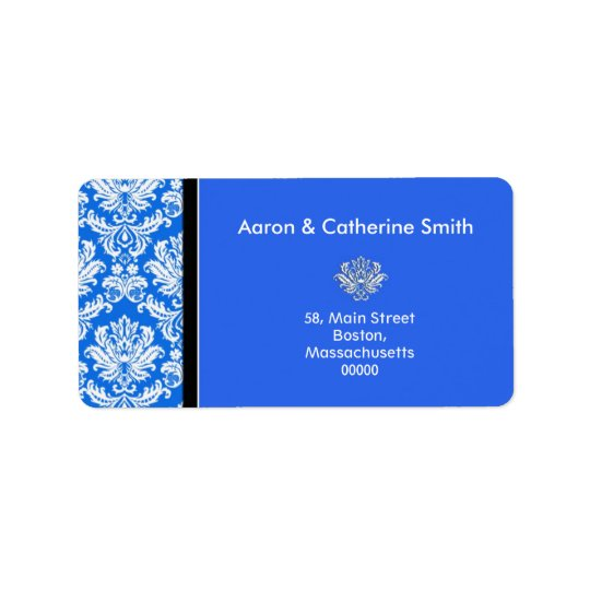 Customisable Blue Damask Address Labels