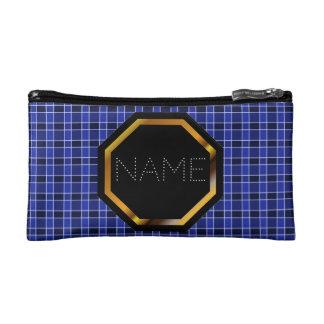 Customisable Blue Plaid Cosmetics Bag