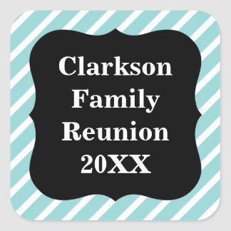 Customisable Blue Striped Family Reunion Stickers