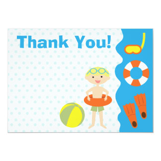 Customisable Boy's Pool Party Birthday Thank You Card