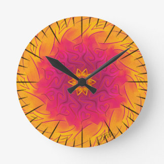 Customisable Carnation (Psychedelic spirograph) Round Clock