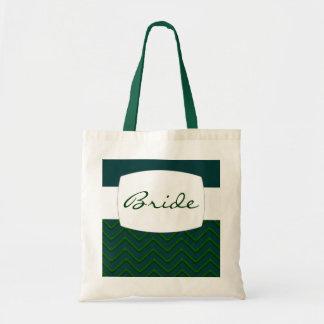 Customisable Chevron Emerald Green Wedding Bag