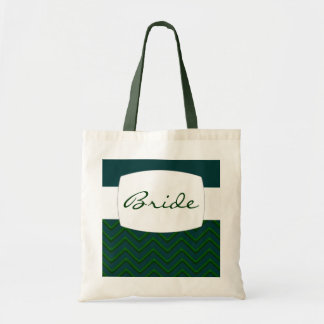 Customisable Chevron Emerald/Green (Wedding) Budget Tote Bag