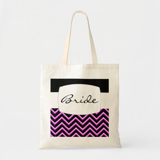Customisable Chevron Hot Pink (Wedding) Canvas Bag