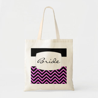 Customisable Chevron Hot Pink (Wedding) Budget Tote Bag