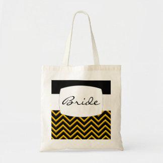 Customisable Chevron Metallic Golden Wedding Canvas Bags