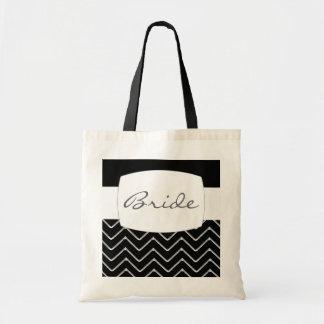 Customisable Chevron Metallic Wedding Canvas Bags