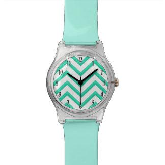 Customisable Chevron Mint Green Watch