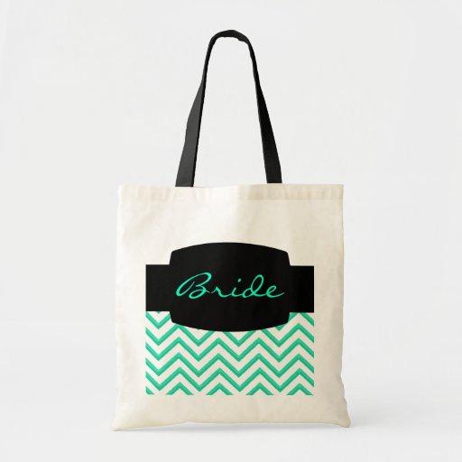 Customisable Chevron Mint Green (Wedding) Canvas Bags