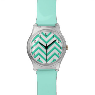 Customisable Chevron Mint Green Wristwatch
