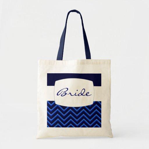 Customisable Chevron Neon/Blue (Wedding) Tote Bag