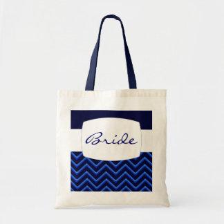 Customisable Chevron Neon/Blue (Wedding) Budget Tote Bag