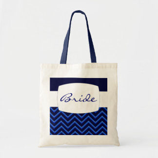 Customisable Chevron Neon/Blue (Wedding) Budget Tote Bag