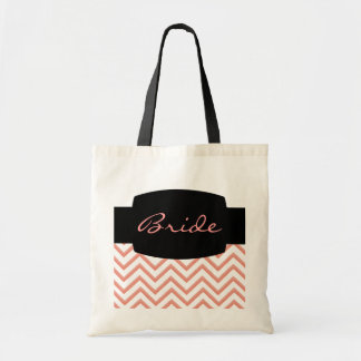 Customisable Chevron Peach (Wedding) Budget Tote Bag