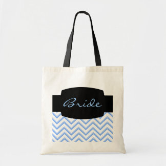 Customisable Chevron Powder Blue Wedding Tote Bag