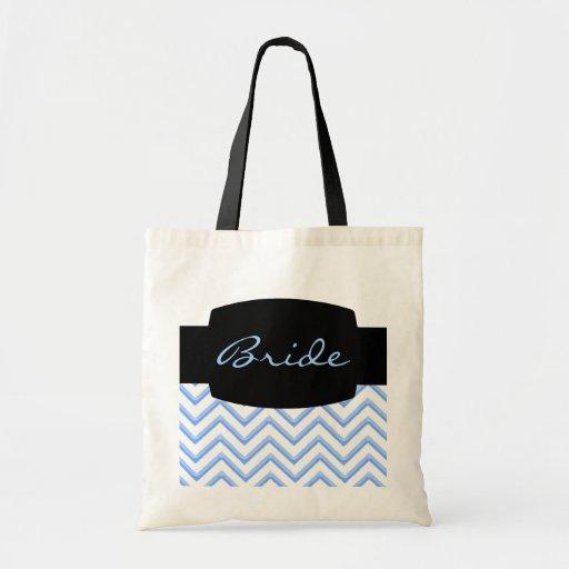 Customisable Chevron Powder Blue (Wedding) Tote Bag