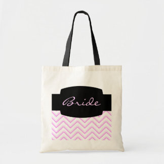 Customisable Chevron Soft Pink (Wedding) Budget Tote Bag