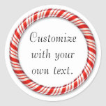 Customisable Christmas candy cane circle stickers