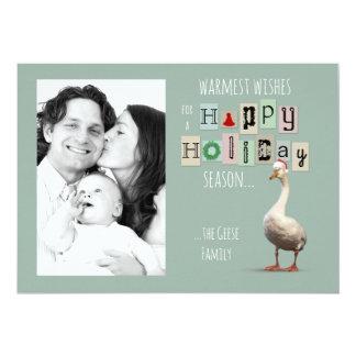 Customisable Christmas Goose Holiday Card