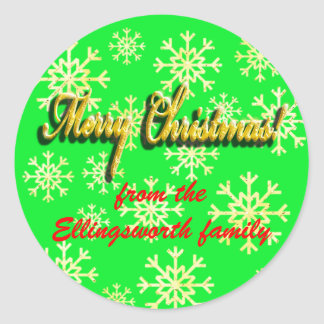 Customisable Christmas sticker green faux gold