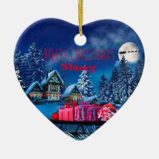 Customisable Christmas Village Heart Ornament