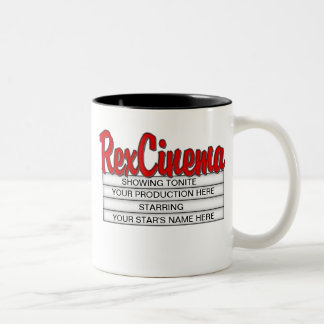 Customisable Cinema Sign Mug with your text.