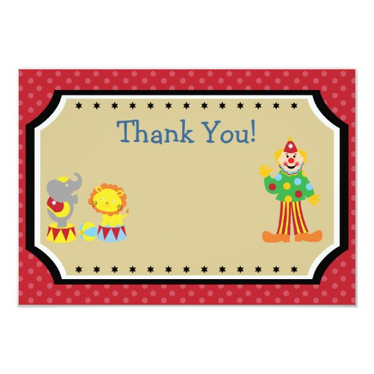 Customisable Circus Birthday Party Thank You Card