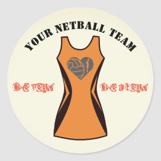 Customisable Colour Personalised Netball Team Classic Round Sticker