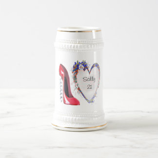 Customisable Corkscrew Stiletto and Heart Gifts Beer Stein