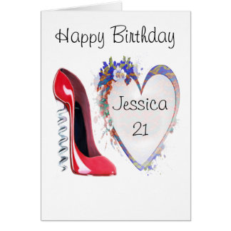 Customisable Corkscrew Stiletto and Heart Gifts Greeting Card