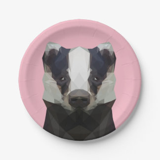 Customisable Cute low poly badger paper plate