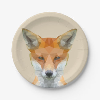 Customisable Cute low poly fox paper plate
