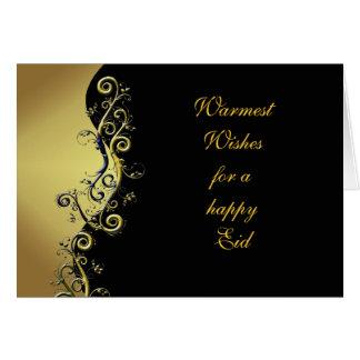 Customisable Eid card floral design on black