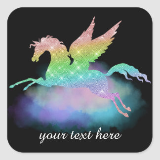 Customisable fantasy rainbow unicorn sticker