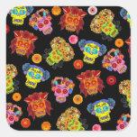Customisable Floral Sugar Skulls Square Stickers