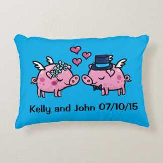 Customisable Flying Pig wedding memento Decorative Cushion